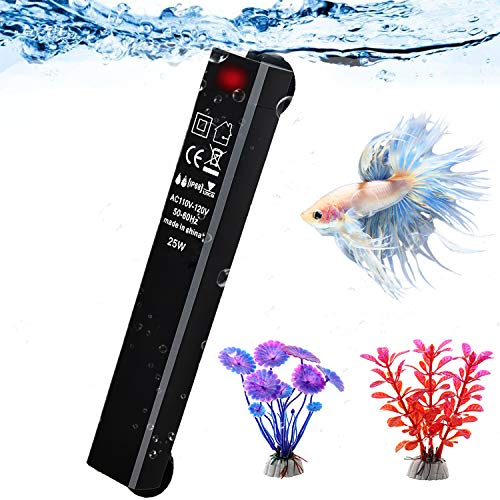 25W Betta Fish Tank Heater, Smart Thermostat Submersible Small Mini Aquarium Heater, Anti-Explosion/Energy-efficient Water Temp Controller Easy to Use for 1-5 Gallon - Gift with 2 Artificial Plants