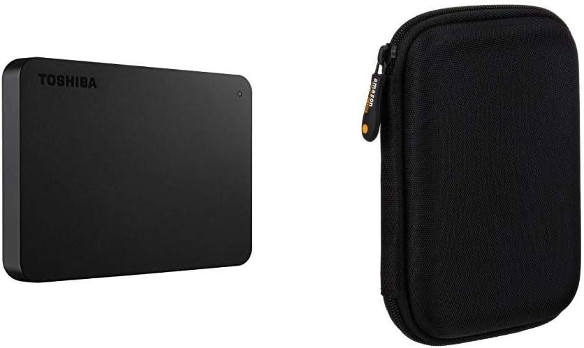 Toshiba HDTB420XK3AA Canvio Basics 2TB Portable External Hard Drive USB 3.0, Black & AmazonBasics External Hard Drive Portable Carrying Case