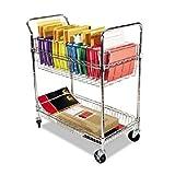 ALERA MC343722CR Carry-all Cart/Mail Cart, Two-Shelf, 34-7/8w x 18d x 39-1/2h, Chrome by Alera