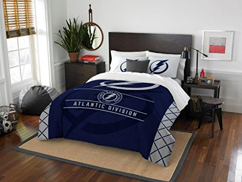 Tampa Bay Lightning - 3 Piece FULL / QUEEN SIZE Printed Comforter & Shams - Entire Set Includes: 1 Full / Queen Comforter (86