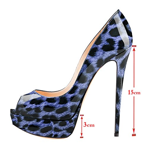 Eks Signore Stiletto Peep Toe Gradiente Vestito Pompe Party Blu Leopardo