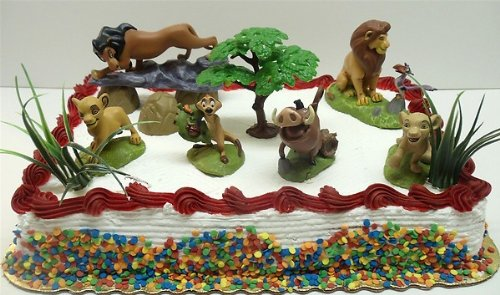 Lion King Birthday Cake Topper Set Featuring Mufassa, Zazu, Pumbaa, Scar, Timon, Nala, Simba and Decorative Rocks, Safari Grass, and Tree of Life Themed (Safari Grass)