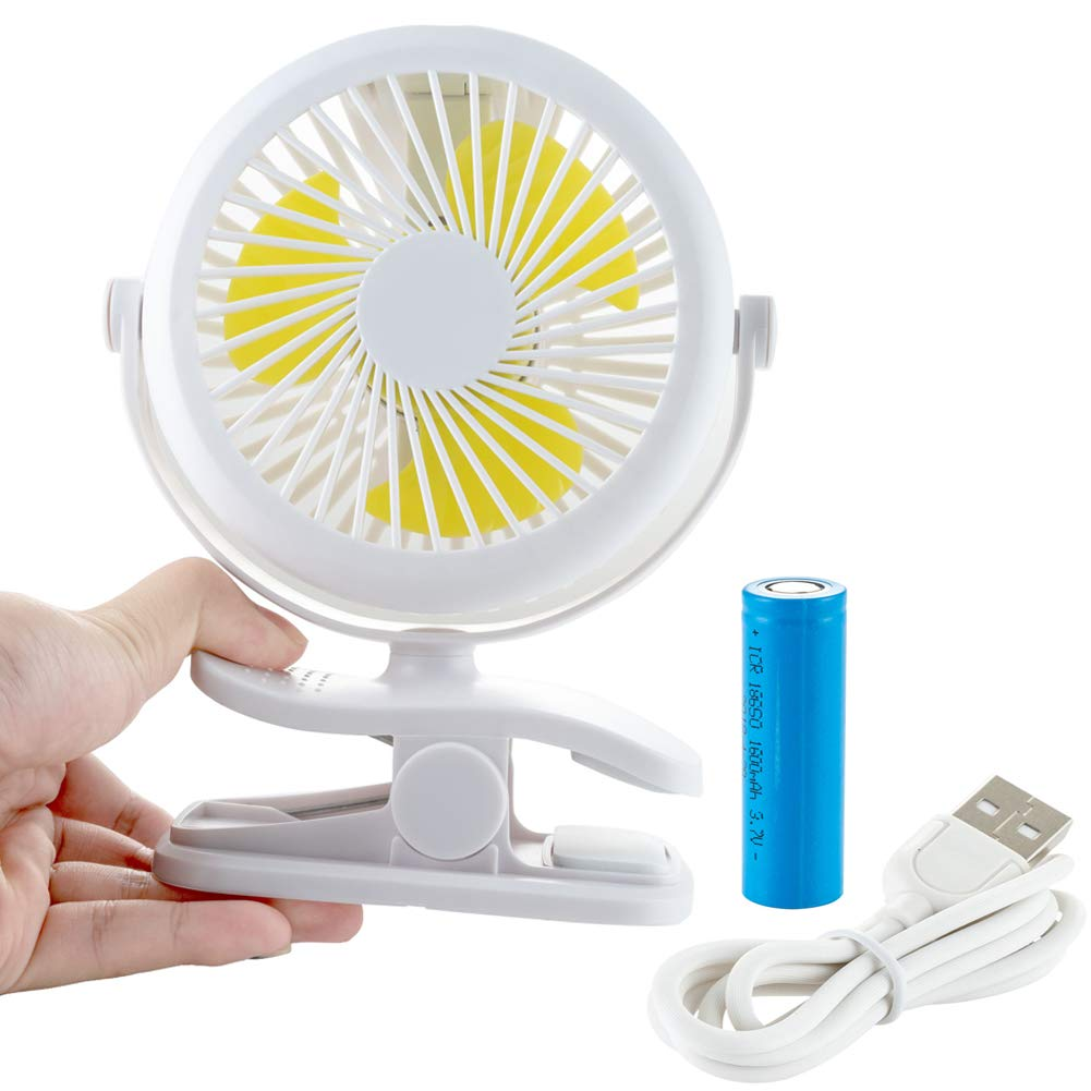 Baby Stroller Fan Clip on, Rechargeable Battery Operated Fan, Small Portable Fans Table Desk USB Powered Fan for Baby Stroller, Car, Gym, Office, School, Outdoor, Traveling, Camping (White)