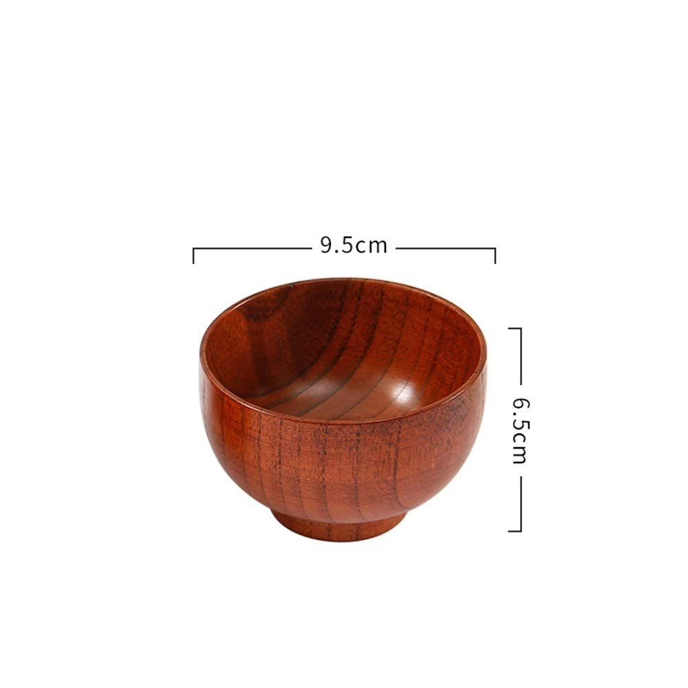 Unbekannt Vintage Holzgeschirr für Kinder Haushalt Holzschale Suppenschüssel Set Dickholz Anti-Fallen Erwachsenen, A1