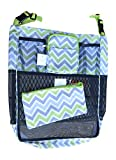Set of Universal Fit Detachable Stroller Organizer With Deep Pocket and Zippered Case (Bundle) (Green Grey Chevron)