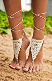 Crochet Ivory Barefoot Sandals, Nude shoes, Foot thongs, Victorian Lace, Sexy, Yoga socks, Anklet, Bellydance, Beach wedding bottomless shoes