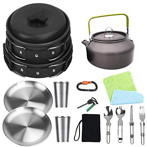 Bisgear Camping Cookware Kettle Pot Pan Mess Kit Stainless Steel Cup Plates Utensil Backpacking Gear Bug Out Bag Cooking Equipment Picnic Cookset Carabiner & Fire Starter for 2 Person