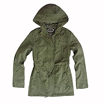 Amazon.com: Women's Hooded Drawstring Military Army Green Jacket ...