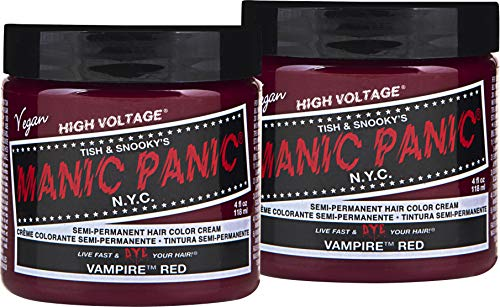 Manic Panic Vampire Red Color Cream (2-Pack) Classic High Voltage - Semi-Permanent Hair Dye - Vivid, Red Shade - For Dark, Light Hair - Vegan, PPD & Ammonia-Free - Ready-to-Use, No-Mix Coloring
