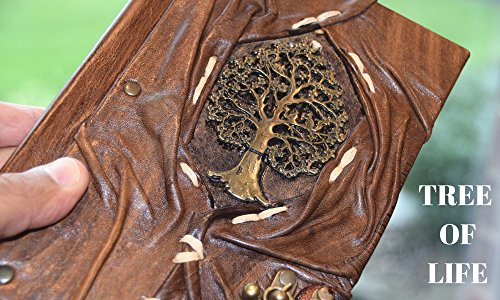 """Genuine Leather Writing Journal Sketch Book (Tree of Life) with 160 Cream Colored Pages and Brass C-Clasp (5.5"""" x 7.8"""") by Rustic Diary (Image #5)"""