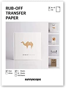 """Sunnyscopa Rub-off Transfer Paper for INKJET printer - US LETTER SIZE 8.5""""x11"""", CLEAR, 5 sheets - for DIY personalized gifts, albums on weddings, anniversaries, Christmas and more"""