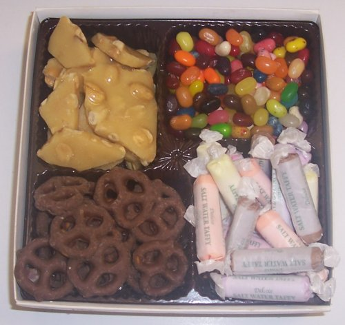 Scott's Cakes Large 4-Pack Peanut Brittle, Dark Pretzels, Salt Water Taffy, & Assorted Jelly Beans