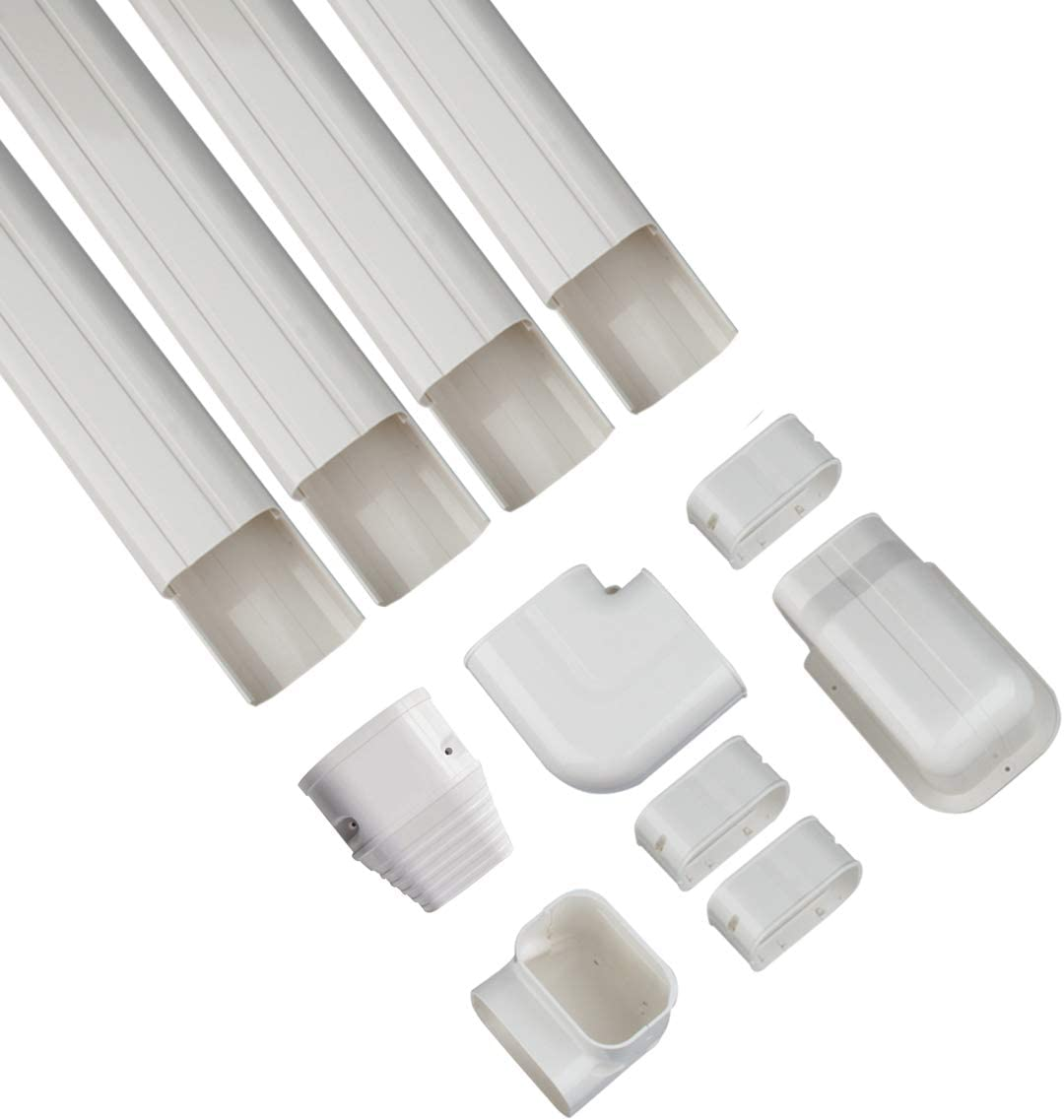 Forestchill 3''w x 14ft Decorative PVC AC Line Set Cover Kit Tubing Slot for Central Air Conditioner, Mini Split A/C Units and Heat Pump System, Condenser Unit