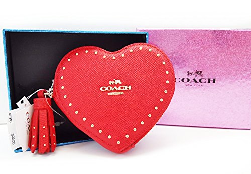 Coin Studded (Coach Womens Textured Studded Coin Pouch Red Small)