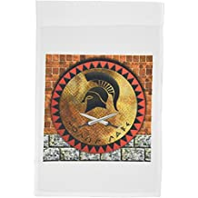3dRose fl_167099_1 Knight Helmet Roman Design with Brick Wall Art Background Garden Flag, 12 by 18-Inch