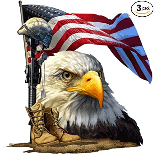 Salute Our Flag American Bald Eagle Decal | Waterproof Permanent Collectible Patriotic American Flag Car Motorcycle Bicycle Skateboard Laptop Luggage Bumper Vinyl Decal | Size: 7"