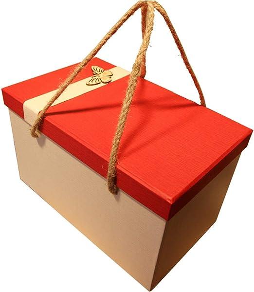 Caja de Regalo Rectangular Grande Rojo con Tapa Papel ecológico ...
