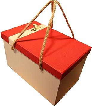 Caja de Regalo Rectangular Grande Rojo con Tapa Papel ecológico Material de Papel Duro Caja de Embalaje de Regalo de cumpleaños: Amazon.es: Hogar