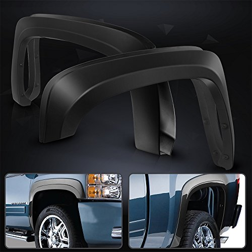 Fender Flare Fits 2007-2013 Chevy Silverado 1500 | Short Bed OE Style Black PP Injection Right Left Wheel Cover Protector Vent Trim By IKON MOTORSPORTS | 2008 2009 2010 2011 2012