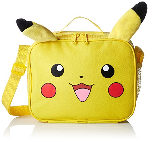 Pokemon KZ23583774 Nintendo Pikachu 3D Plush Ear Insulated Lunch Tote Bag with Adjustable Strap, 10 x 8 x 3-Inches, Yellow Photo