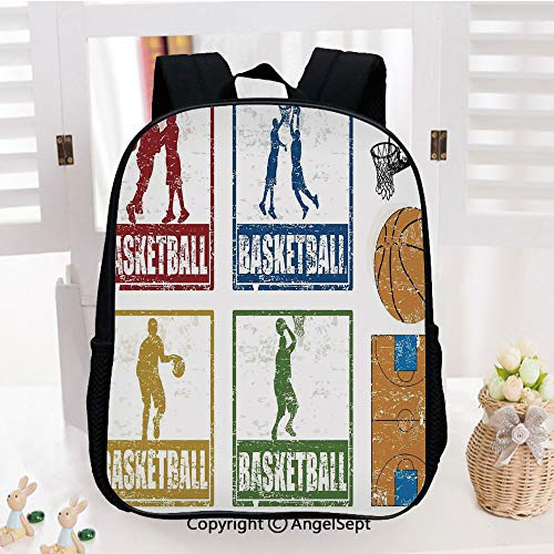 Preschool Backpack for Kids Girls Toddler,Collection of Vintage Rubber Stamp Print Style Illustration with Basketball Players Kindergarten School Bookbags,Navy Green Red]()