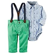 Carter's Baby Boys' Long Sleeve Onesie and Suspender Pants Set 12 Months
