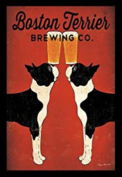 Buyartforless IF IF wa 12688 11X14 1.5 Framed Boston Terrier Co Print by Ryan Fowler 11 X 14 Art Poster Brewing Company Beer, Multicolor