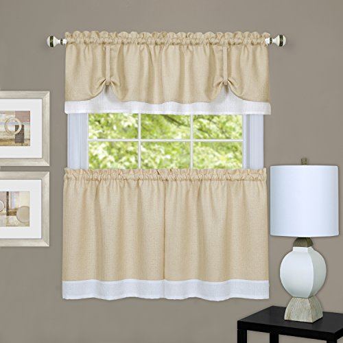 "Achim Home Furnishings DRTV24TW12 Darcy Valance and Tier, 58"" x 24""/14"", Tan/White"