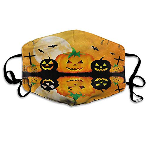 Halloween Fashion Mouth Mask Scary Pumpkin for Cycling Camping Travel W4