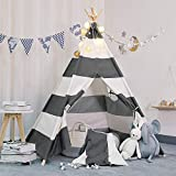 TOUCH-RICH Durable Teepee for Kids 5 ft 4 Poles Indian Play Tent Sturdy & Safe Kids' Furniture with Window & Floor (Stripe Grey Teepee)