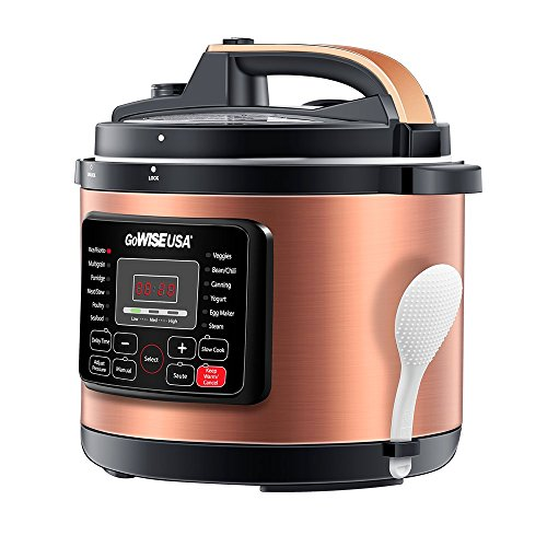 GoWISE USA 8-Quarts Electric Pressure Cooker + 50 Recipes for Pressure with Rack