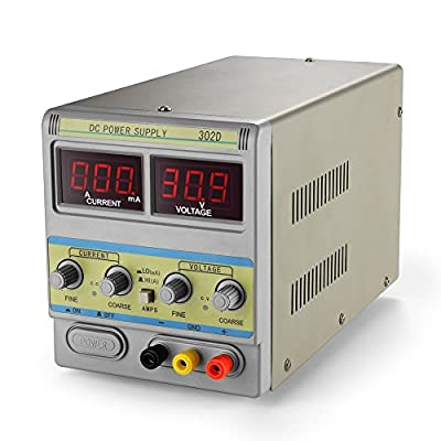 Flexzion DC Power Supply 30V 2A - Adjustable Variable 110V/220V Regulated Switching Circuit Precision Digital Display Liner Single-Output Connectors AC Cable Lab Grade Scientific
