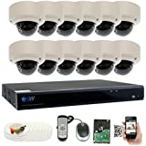 GW Security 16 Channel 5 Megapixel 5 in 1 DVR + 12 x HD-TVI 5MP 1920P Vari-Focal Zoom Outdoor / Indoor CCTV Dome Security Camera System with Pre-Installed 4TB Hard Drive