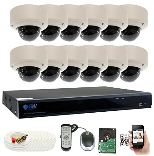 GW Security 16 Channel 5 Megapixel 5 in 1 DVR + 12 x HD-TVI 5MP 1920P Vari-Focal Zoom Outdoor / Indoor CCTV Dome Security Camera System with Pre-Installed 4TB Hard (Network Dome Camera Digital Video)
