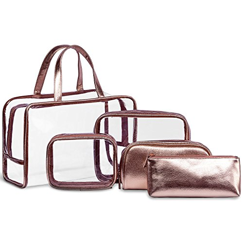 f43d2005d6e6 5 in 1 Clear Cosmetic Bag & Case Portable Carry on Travel Toiletry ...