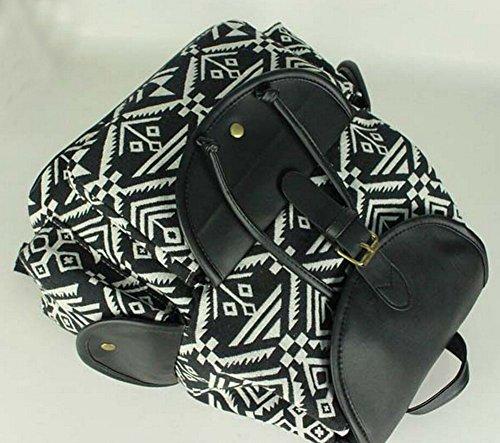 69208ea6d2c9f ... Damen Retro Canvas Tasche Umhängetasche Vintage Rucksack Schulranzen  Mädchen Schulrucksack schwarz 5933cnYhi