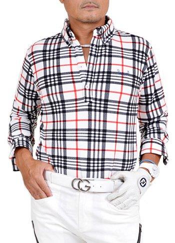 【コモンゴルフ】 COMON GOLF メンズ ストレッチ ワッフル素材 長袖 ゴルフ ポロシャツ CG-LP652