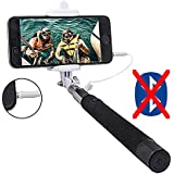 Selfie Stick,Worry Free Goodie,Extendable Cable Control,No Battery No Bluetooth No Remote No Charging,iPhone 6,6s,5,iPhone 6 plus,Samsung S5,Galaxy S4,S5,S6,Note 4,Note 5,6,S6 Edge