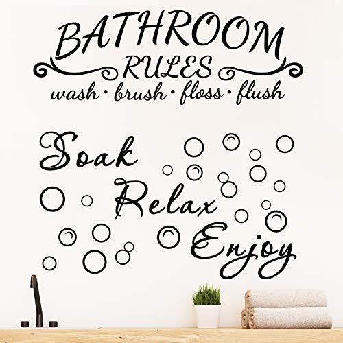 2 Pieces Bathroom Wall Decals Sticker Soak Relax Enjoy Bathroom Rules Wall Sticker Vinyl Quote Saying Wall Art Decor for…
