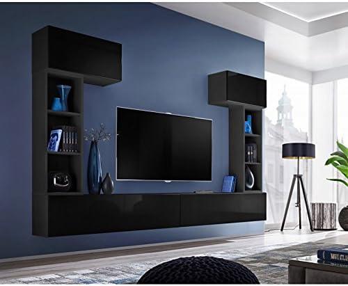 Paris Prix – Mueble TV Pared Design Blox II 280 cm Negro: Amazon ...