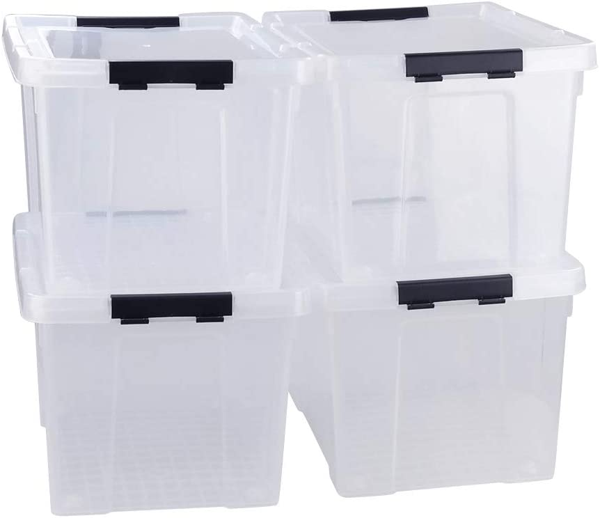 Tstorage 37 Quart Plastic Storage Container with Lid and Wheels Large Storage Bin, Transparent and Black, 4 Packs