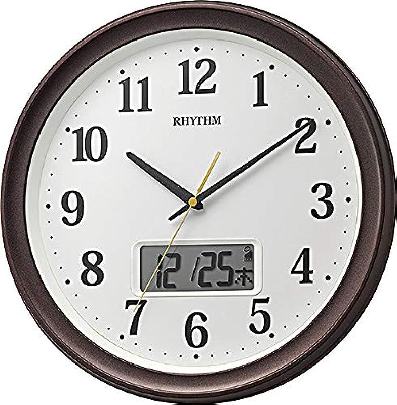 리듬 시계 공업 벽시계백Φ32.5x5cm 전파 아날로그 디지탈 연속 초침 온도 습도 캘린더 8FYA02SR03