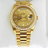 Rolex Day-Date 40 President Yellow Watch 228348 Diamond Bezel Baguette Diamond Dial