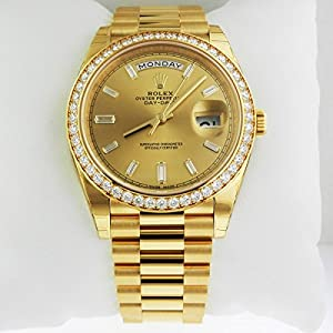 51NFXhpYDZL. SS300  - Rolex Day-Date 40 President Yellow Watch 228348 Diamond Bezel Baguette Diamond Dial