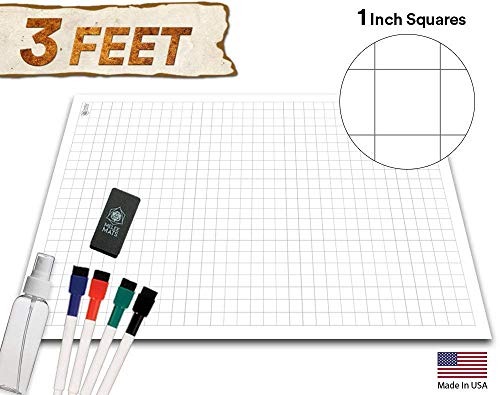Battle Grid Game Mat - ULTRA DURABLE POLYMER MATERIAL - Role Playing DnD Map - Reusable Tabletop Square Mats - RPG Dungeons and Dragons Dry Erase Vinyl Tiles - Large Set for Starters and Masters 24x36