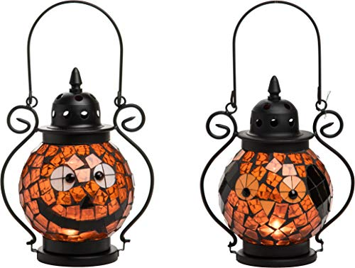 Transpac Imports D2196 Mosaic Glass Jack-O-Lantern Set of 2 Candleholder, Orange
