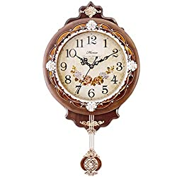 HENSE Vintage Retro Design 12-inch Non-ticking Ultra Mute Silent Quartz Movement Wooden Wall Clock with Pendulum HP01 (Brown)