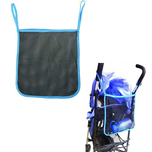 - Charis Kid Mesh Stroller Bag - Stroller Attachable Organizer Carrying Bag - Umbrella Baby Stroller Accessories (Black with Blue Edge (2 Pack))