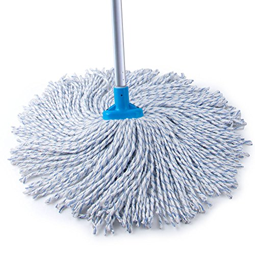 - MR.SIGA All Purpose Wet Deck Cotton Mop with Solid Steel Handle, 9 ½ Oz