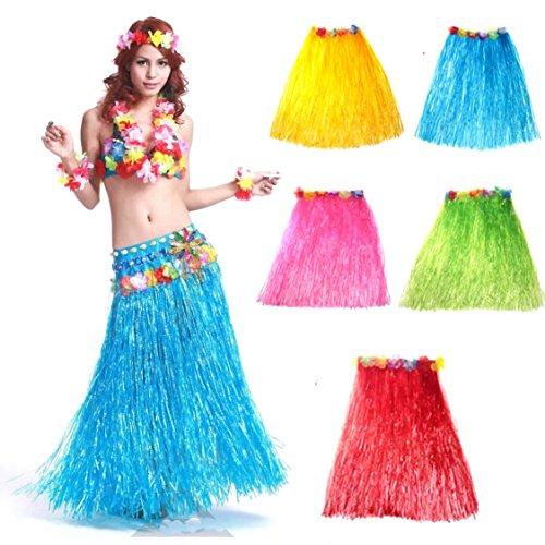 1/2 Inch Skirt (Calcifer23-1/2 inch Long Lot/5Pcs Hawaiian Adult Beach Party Plastic Flower Grass Skirts (1pcs Blue+1pcs Gold+1pcs Pink+1pcs Green+1pcs Red))